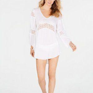 Raviya White Crochet-Inset Tunic Cover-up - White